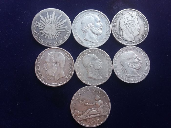 Europe - Lot various coins 1838/1908 (7 different) - silver