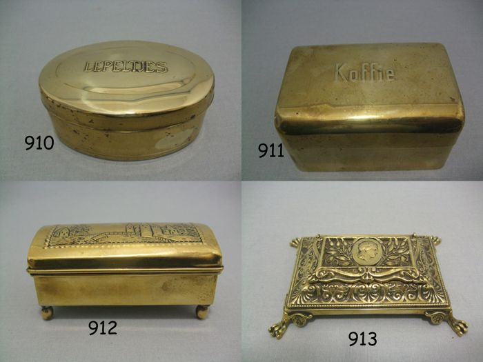3 Old Copper Boxes And 1 Bronze Stamp Box