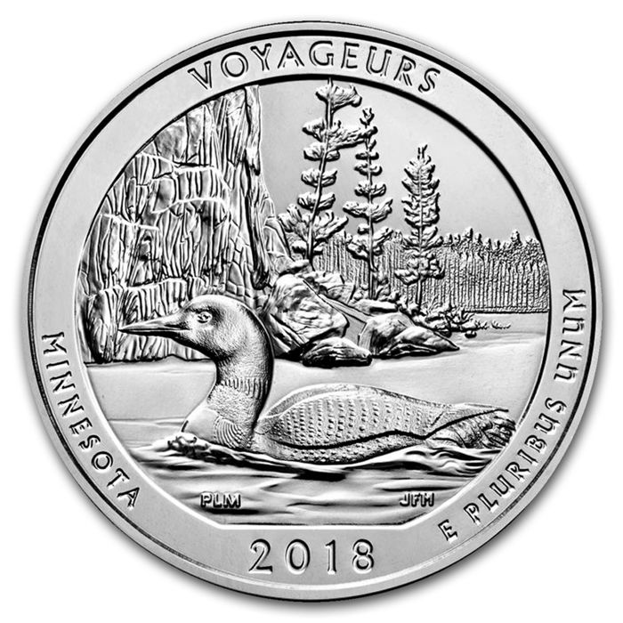 United States - $ 0.25 America The Beautiful - Voyageurs National Park Minnesota - 5 oz 999 silver