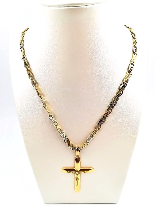 Chain for men in yellow and white gold cross pendant in 18 kt chain for men in yellow and white gold cross pendant in 18 kt yellow gold aloadofball Choice Image