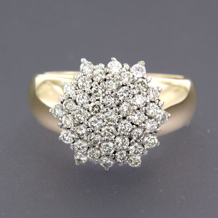 14 kt bi-colour gold ring set with brilliant cut diamonds of approx. 1.00 ct in total