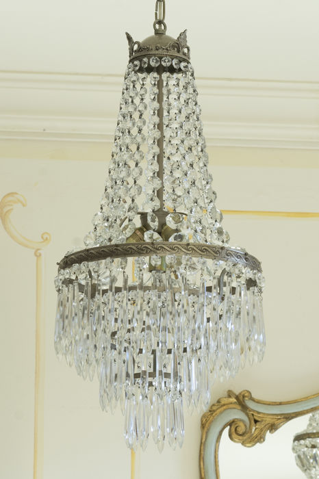 Four light vintage Chandelier with crystal pendants
