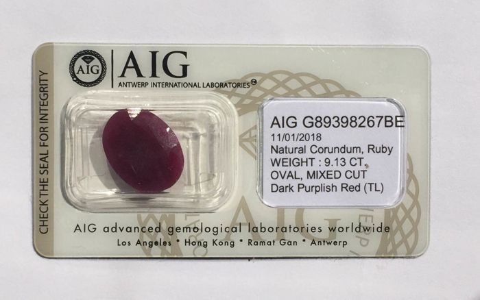 purplish red ruby 9.13 ct
