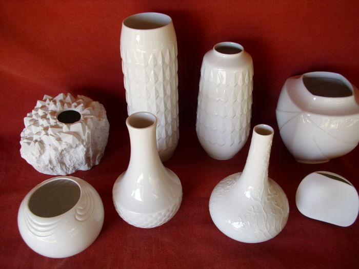 8 Vintage Vases, Hutschenreuther - Rosenthal - Thomas - Archive Collection - Some Signed