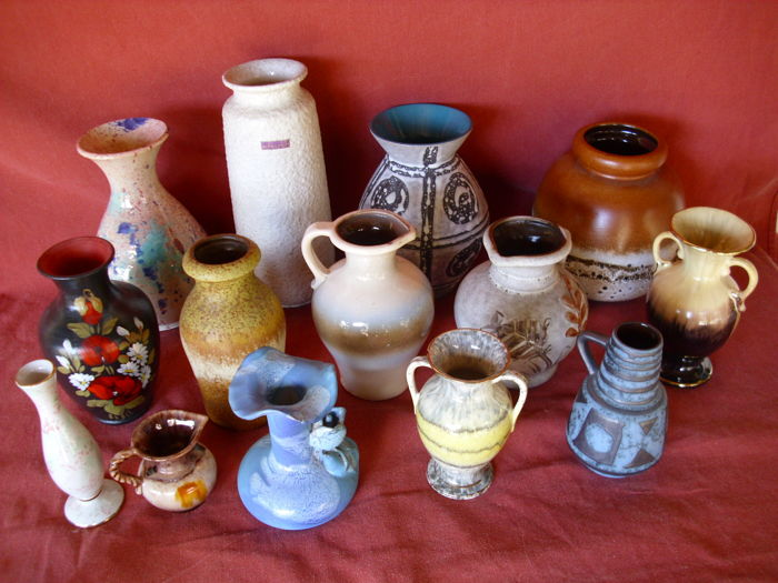 Collection of 14 Pieces of Vintage Designer and Studio Vases, Marked