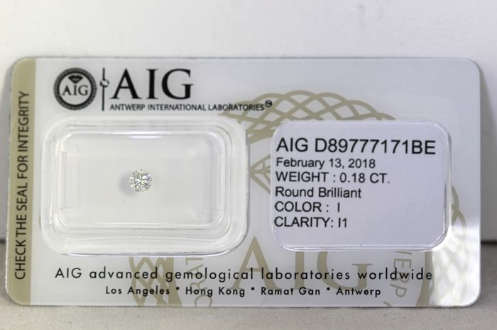 * NO RESERVE PRICE * -  AIG Antwerp Diamant - 0.18 ct - I, I1