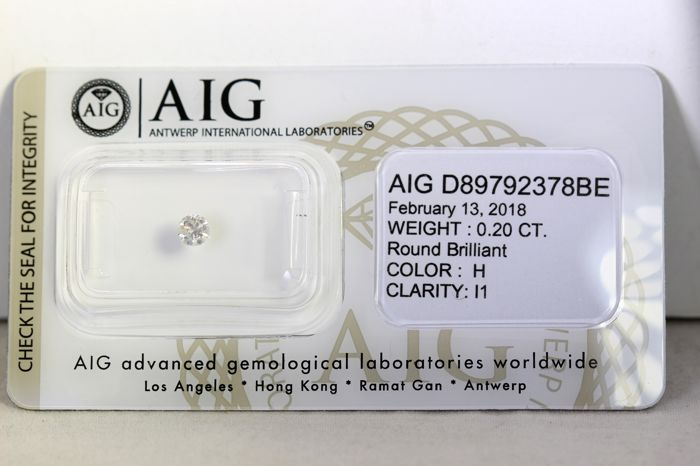 * NO RESERVE PRICE * -  AIG Antwerp Diamant - 0.20 ct - H, I1