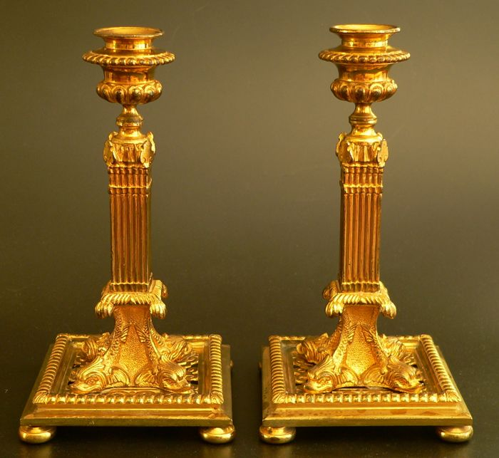 Pair of torches 'à la financière' - Gilded bronze - France - end 19th