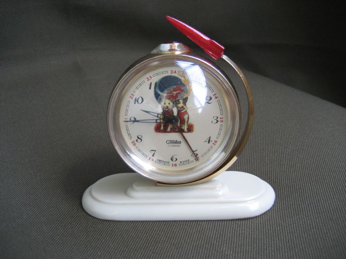 """Table alarm clock """"Slava - Globe""""- vintage Space ( Belka and Strelka - are the first cosmonauts of the Earth ) - USSR."""