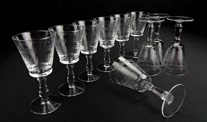 Pall Mall Lady Hamilton - Set of 10 thin crystal wine glasses