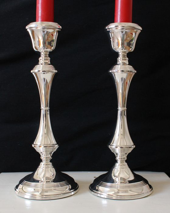 Pair of silver candlesticks - W I Broadway & Co. - Birmingham - 1972 - 20 cm