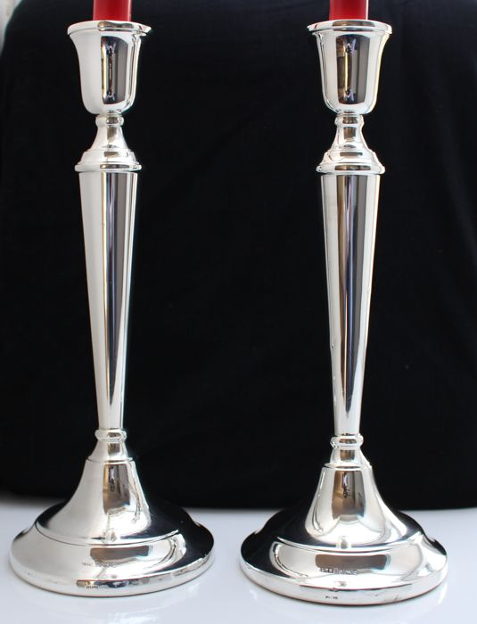 Tall pair of sterling silver candlesticks - 30 centimeter - Birmingham 1989 & 1990 - 1130 grams