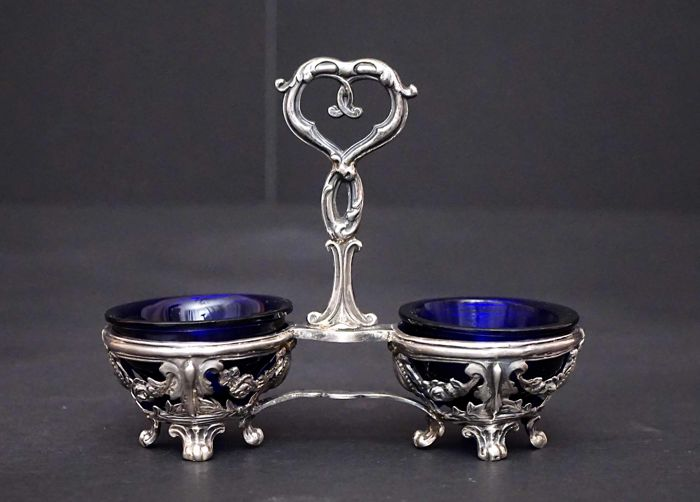 Silver Double Open Salt Service, Emile Hugo, France, 1853-1880