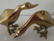 Two decorative brass ducks