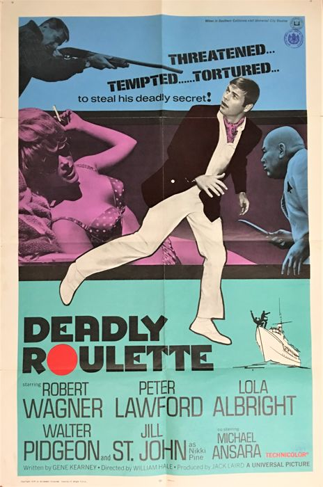 Deadly Roulette 1sh rare Large Movie Poster, 103 x 69 cm, 1968, Robert Wagner, Peter Lawford, Lola Albright a.o.