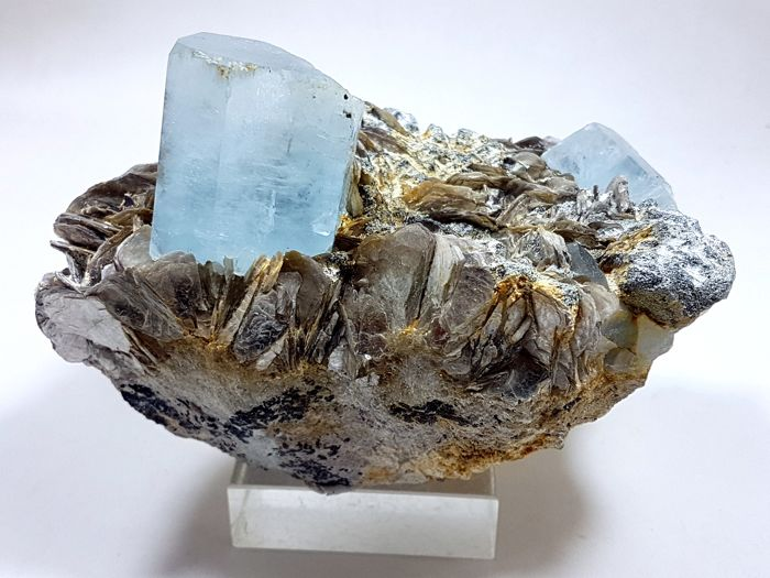 Sky Blue Aquamarine with Muscovite on Matrix - 13.5x8.5x8.2 cm - 990 g