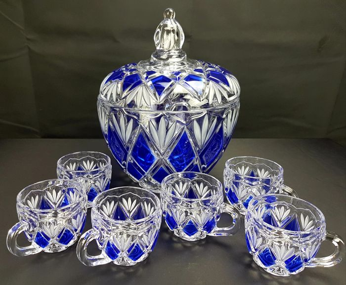 Walther-Glas - Cut crystal punch/fruit salad set in two colours