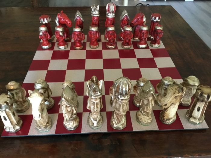 Handmade large wooden chess pieces - 15 cm!