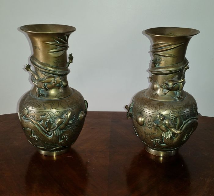 Pair Of Brass Vases With Dragon Decorations China Mid 20th
