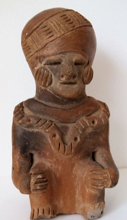 Authentic terracotta ancestor statue from New Guinea, Asmat area