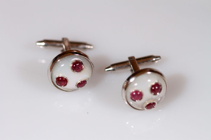 White gold cufflinks with mother-of-pearl and rubies