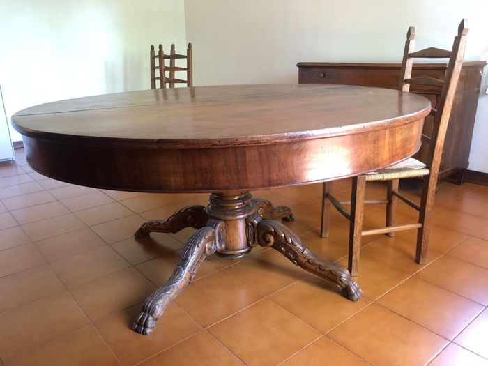 Entirely original walnut table - Louis Philippe style - mid-19th century