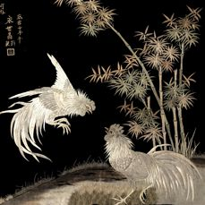 A Silk Embroidery of two Cockerel - Japan - Dated 1973