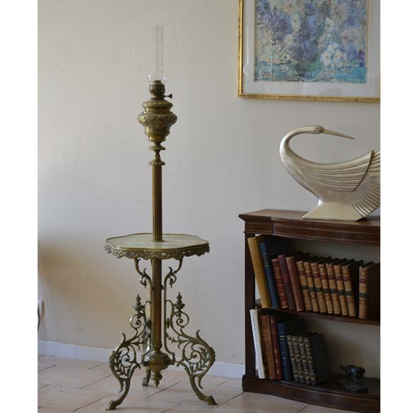 Napoleon III oil lamp pedestal table - called smoker table or floor lamp - end 19th period.