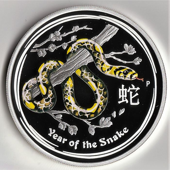 Australië - 1 Dollar 2013 Year of the Snake - Coloured edition 1 oz - Zilver