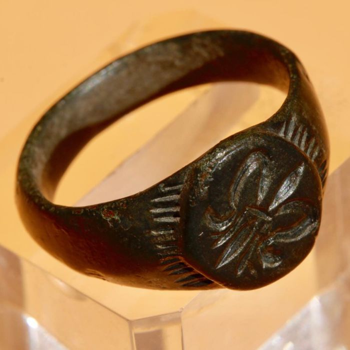 Römisches Reich Bronze Seal ring with Symbol - 2,5cm.