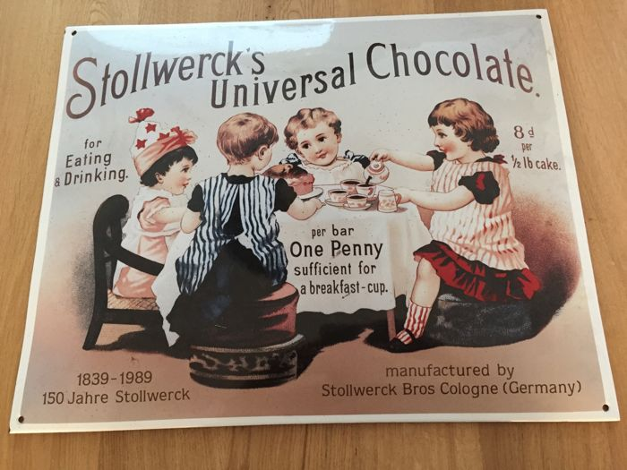 Very heavy enamel plate of Stollwerck's chocolate, for the 150