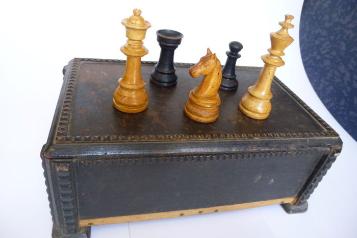 Antique art deco wood chess game from Germany circa 1920, very rare