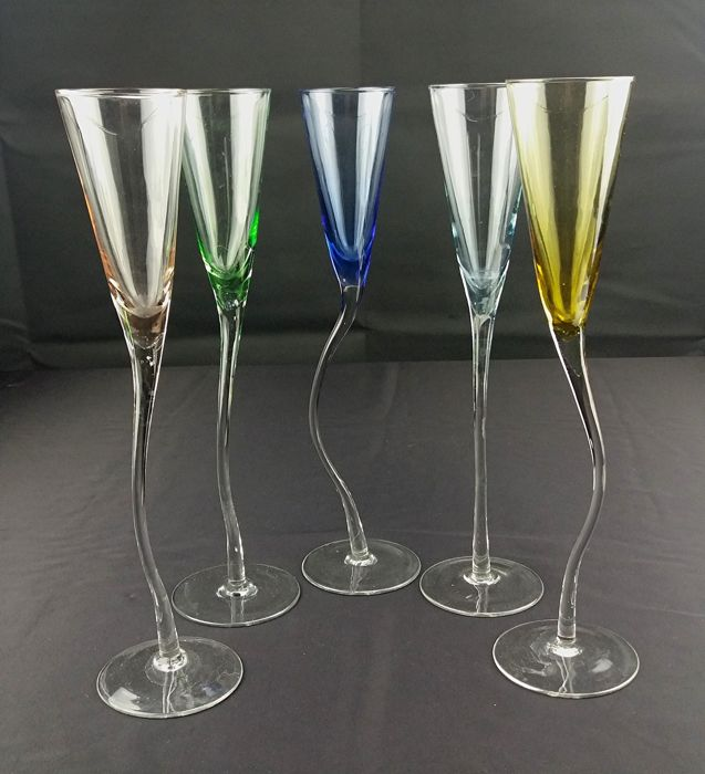 Lot of five crystal flute glasses