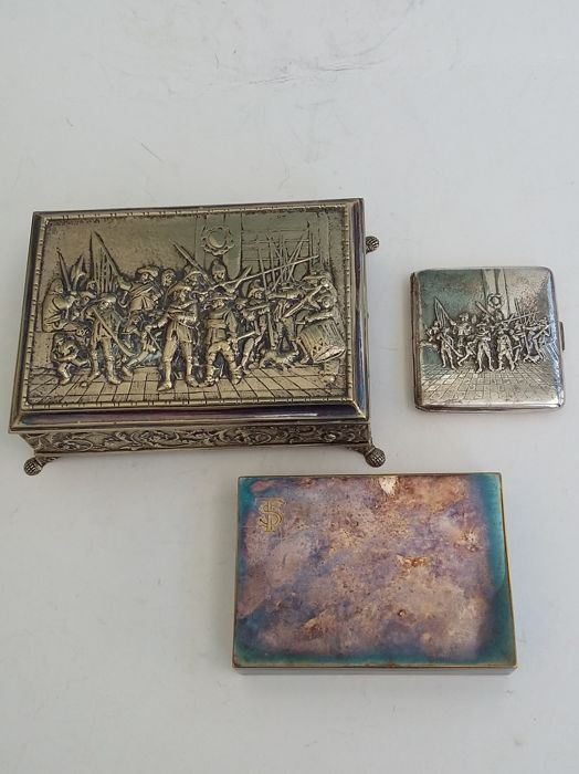 Lot of 3 cigars - cigarette boxes - silver plated - Rembrandt Nachtwacht - WMF