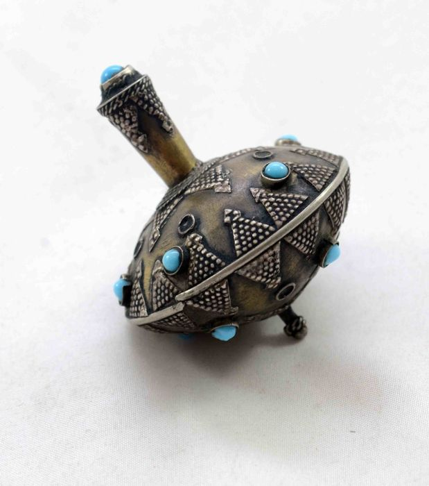 A silver Dreidel - for Hanukkah - filigree work and turquoises - Turkey - 20th Century