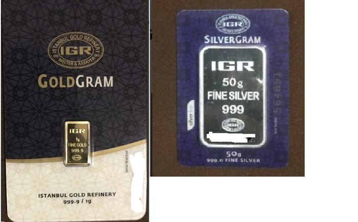 IGR 1 Gm Gold 999.9 & IGR 50 Gm Silver 999.00 Sealed