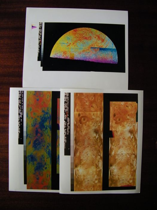 The moons of Jupiter in close up - Three false-colour photographs of the moons Io and Europa (1983)