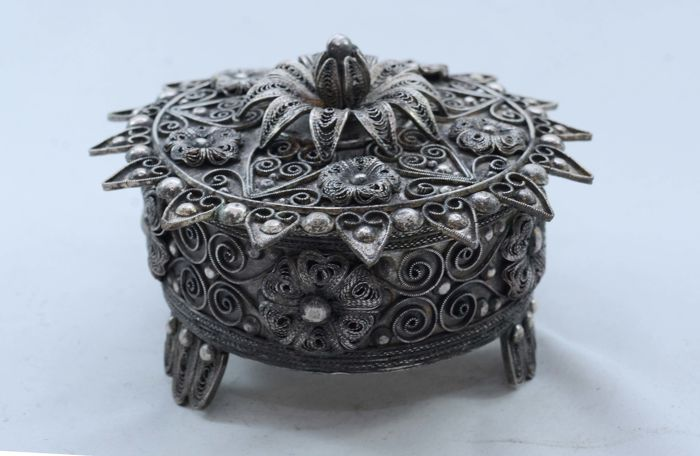 Sugar Bowl - Silver Plated - Hand Emboss - Albania - ca. 1950