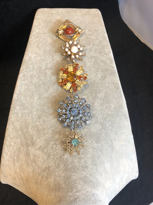 Crystal gem set Coro brooch collection