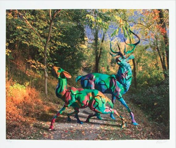 Ron English  - Camo Deer in Enchanted Forest