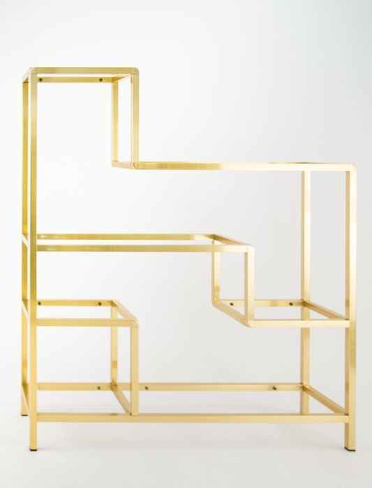 Unknown producer - shelf with double side mirrors and brass frame