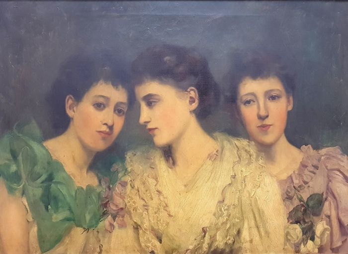 Madeleine Bradley, 19th century, Three Girls, oil on canvas, signed, framed, large
