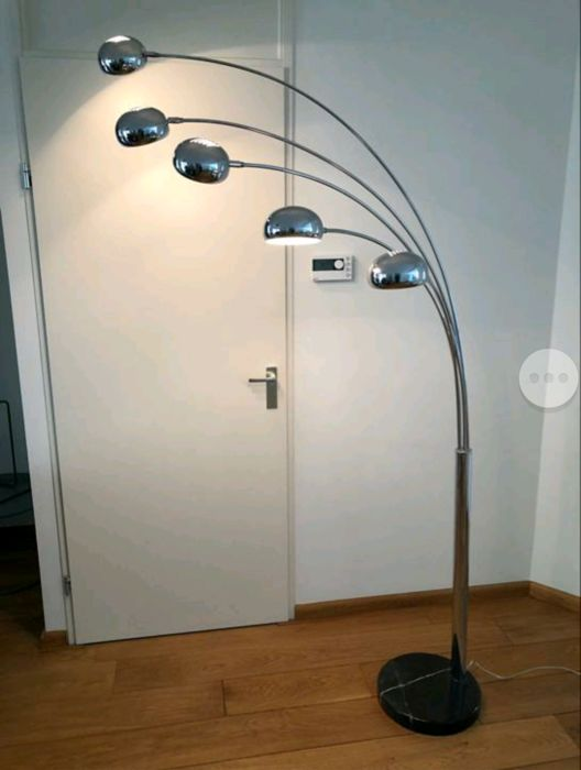 "Unknown designer - Very large ""Five Fingers"" chrome arched lamp with an anthracite marble foot"