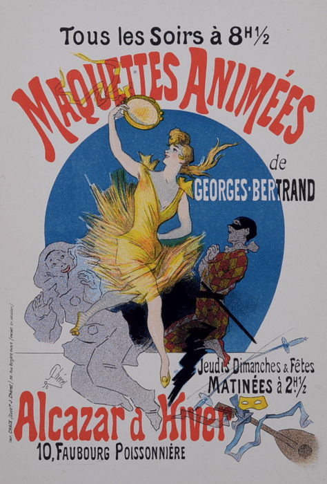 Jules Cheret  - 'Maquettes Animées ' original small lithograph poster from the 'Les Affiches Illustrées' series