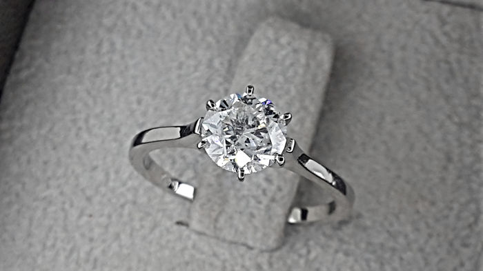 1.02 carat D/SI1 Round Diamond Solitaire Engagement Ring Gold 14K *** NO RESERVE PRICE ***