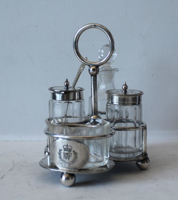 An RAF (Royal British Airforce) - condiment set by Walker and Hall Sheffield