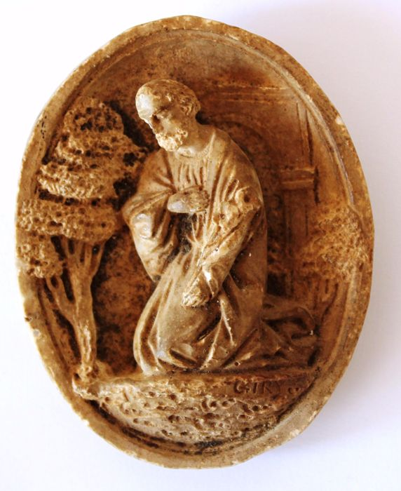 A hand carved sepiolite (meerschaum) relief depicting Saint Joseph - signed Giry - XIX century