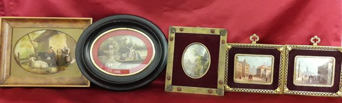 Five antique miniatures Europa 19th and 20th century - oval miniature signed Van Helt and two counterparts (5)