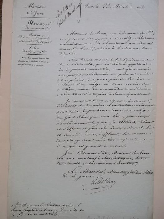 L. S.of Marshal Victor Duke of BELLUNE Grand Marshal of Empire 13 July 1807 signed letter as Minister of war