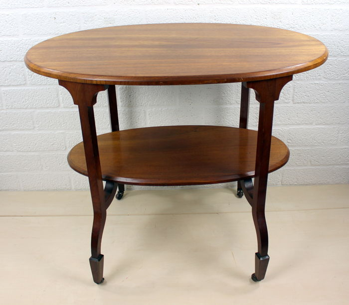 Mahogany etagere tea table on curved legs with castors - The Netherlands - ca. 1920
